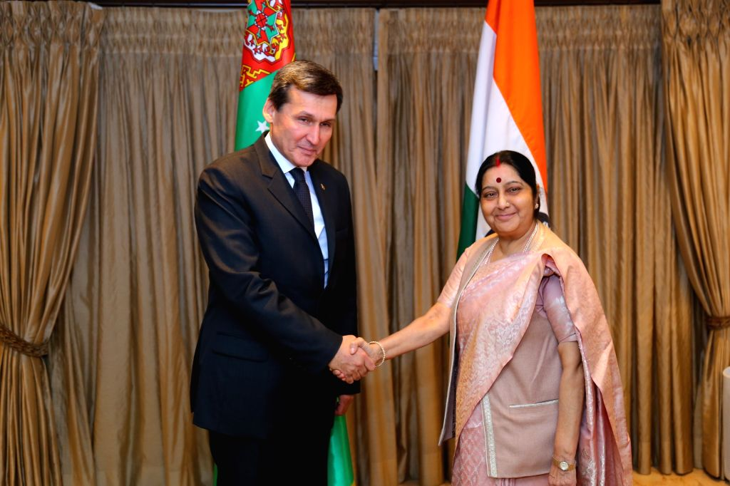 External Affairs Minister Sushma Swaraj meets Turkmen Foreign Minister Rashid Meredov in New Delhi on Jan 16, 2018. - Sushma Swaraj