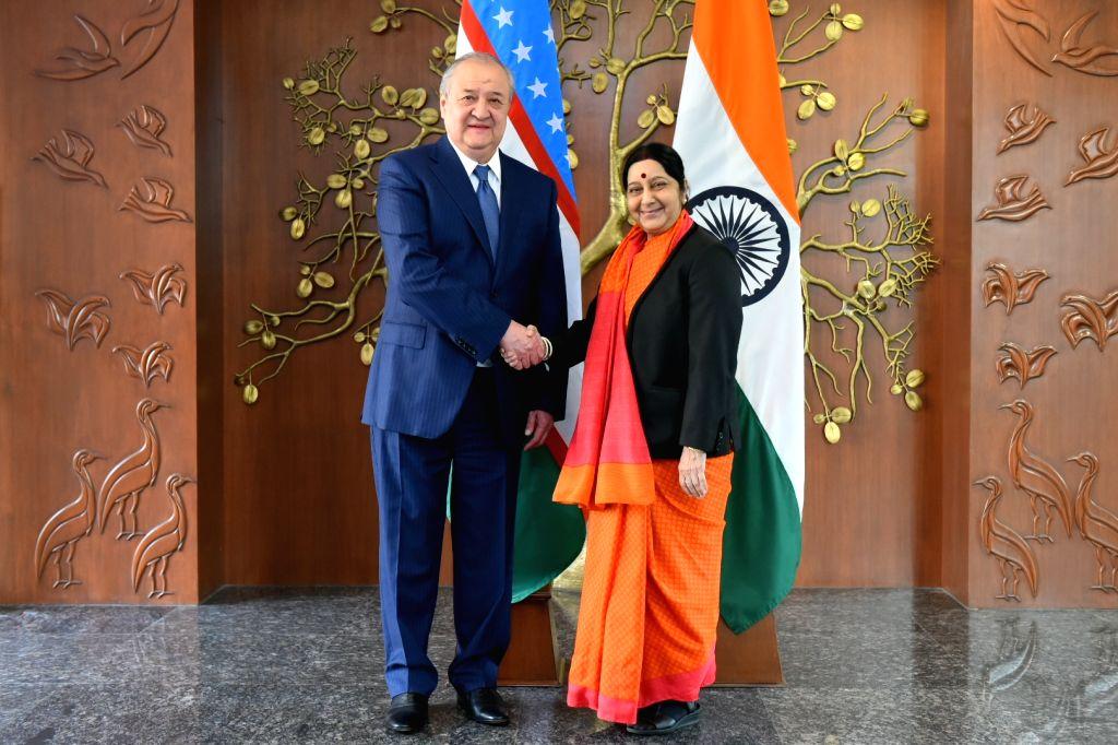 External Affairs Minister Sushma Swaraj meets Foreign Minister of Uzbekistan Abdulaziz Kamilov in New Delhi on Feb 12, 2018. - Sushma Swaraj