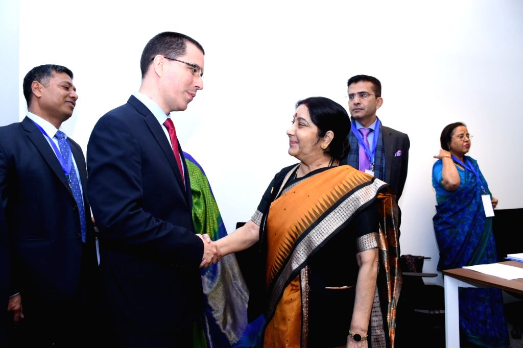 External Affairs Minister Sushma Swaraj meets Venezuela's Foreign Affairs Minister Jorge Arreaza on the sidelines of the 18th Mid-Term Ministerial Meeting of the Non-Aligned Movement (NAM) in ... - Sushma Swaraj