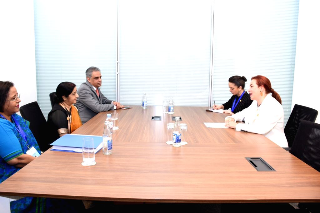 External Affairs Minister Sushma Swaraj meets Ecuador's Foreign Affairs and Human Mobility Minister Maria Fernanda Espinosa on the sidelines of the 18th Mid-Term Ministerial Meeting of the ... - Sushma Swaraj
