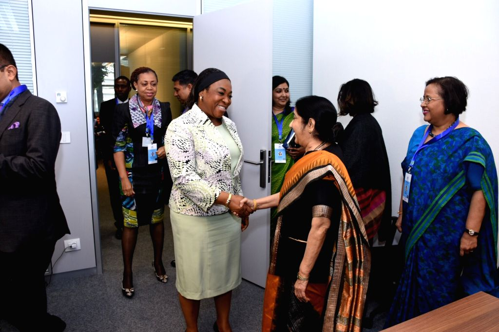 External Affairs Minister Sushma Swaraj meets Ghana's Foreign Affairs and and Regional Integration Minister Shirley Ayorkor Botchwey on the sidelines of the 18th Mid-Term Ministerial Meeting of ... - Sushma Swaraj