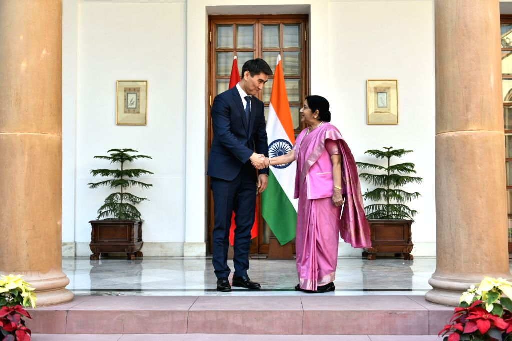 External Affairs Minister Sushma Swaraj meets Kyrgyzstan Foreign Affairs Minister Aidarbekov Chingiz Azamatovich at Hyderabad House in New Delhi, on Jan 29, 2019. - Sushma Swaraj