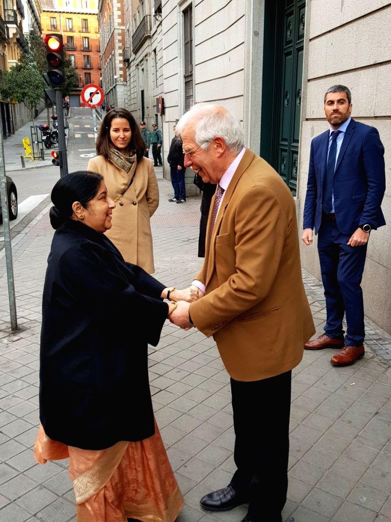 External Affairs Minister Sushma Swaraj meets Spanish Foreign Minister Josep Borrell Fontelles in Madrid, Spain, on Feb 19, 2019. - Sushma Swaraj