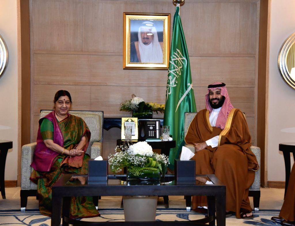External Affairs Minister Sushma Swaraj meets Saudi Arabia Crown Prince Mohammed bin Salman in New Delhi, on Feb 20, 2019. - Sushma Swaraj
