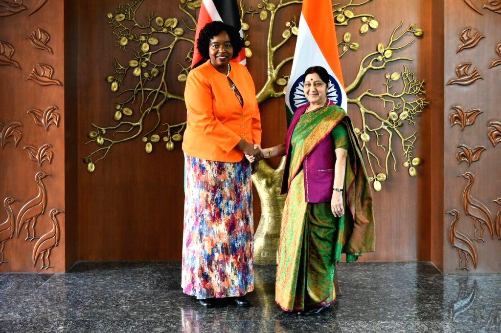 External Affairs Minister Sushma Swaraj meets Kenya Foreign Affairs Cabinet Secretary Monica Juma in New Delhi, on March 6, 2019. - Sushma Swaraj