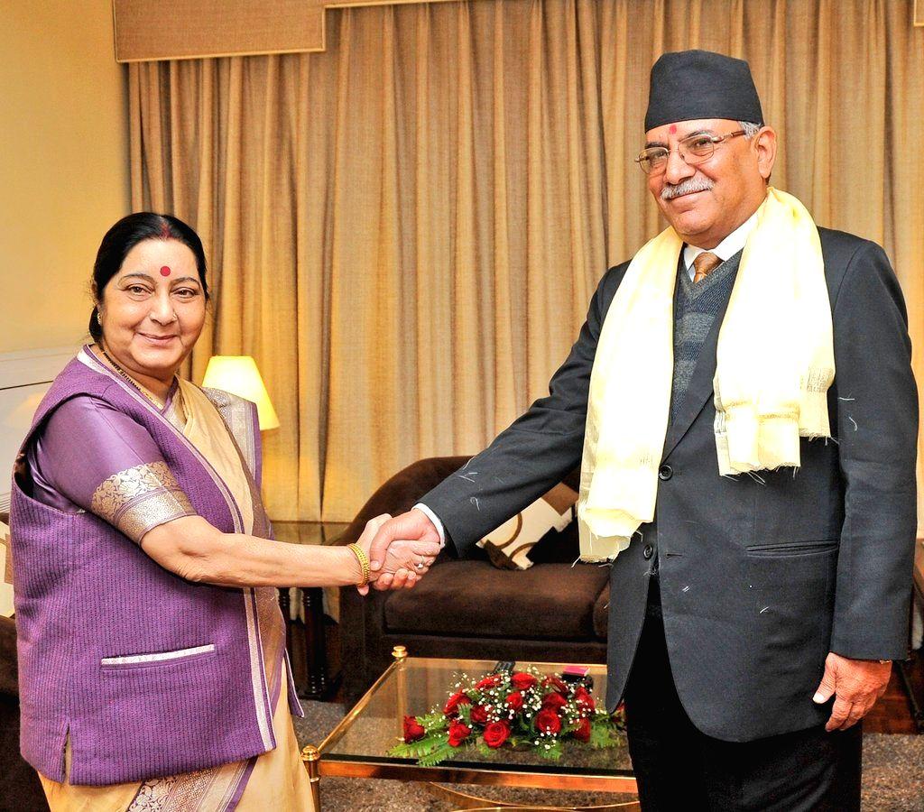 External Affairs Minister Sushma Swaraj meets CPN-Maoist Centre Chairman Pushpa Kamal Dahal in Kathmandu on her two-day visit to Nepal, on Feb 2, 2018. - Sushma Swaraj