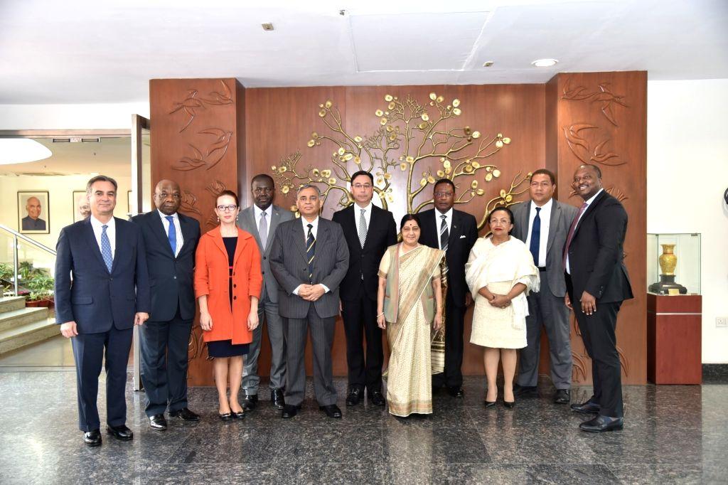 External Affairs Minister Sushma Swaraj meets UN Permanent Representatives, in New Delhi, on Feb 25, 2019. - Sushma Swaraj