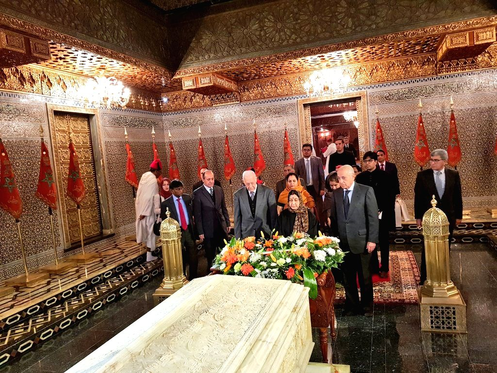 External Affairs Minister Sushma Swaraj pays homage to the Morocco's monarchs at the Royal Mausoleum, in Rabat, Morocco, on Feb 18, 2019. - Sushma Swaraj