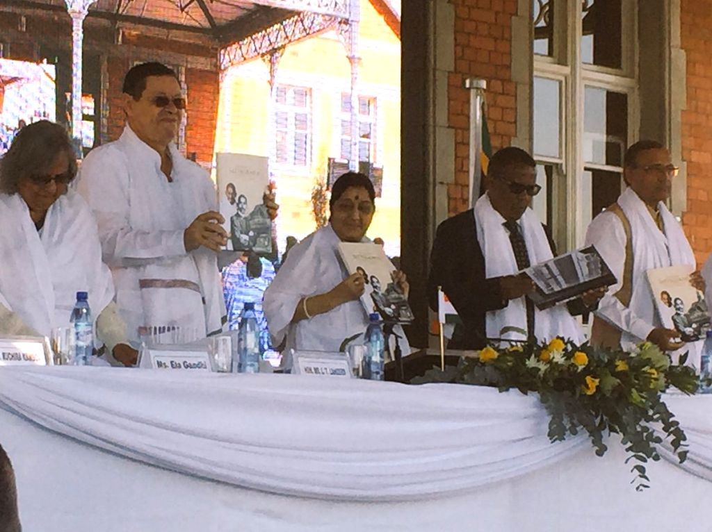"""External Affairs Minister Sushma Swaraj releases a coffee table book on Mahatma Gandhi titled """"The Birth of Satyagraha"""" at the commemoration of the 125th anniversary of ... - Sushma Swaraj"""