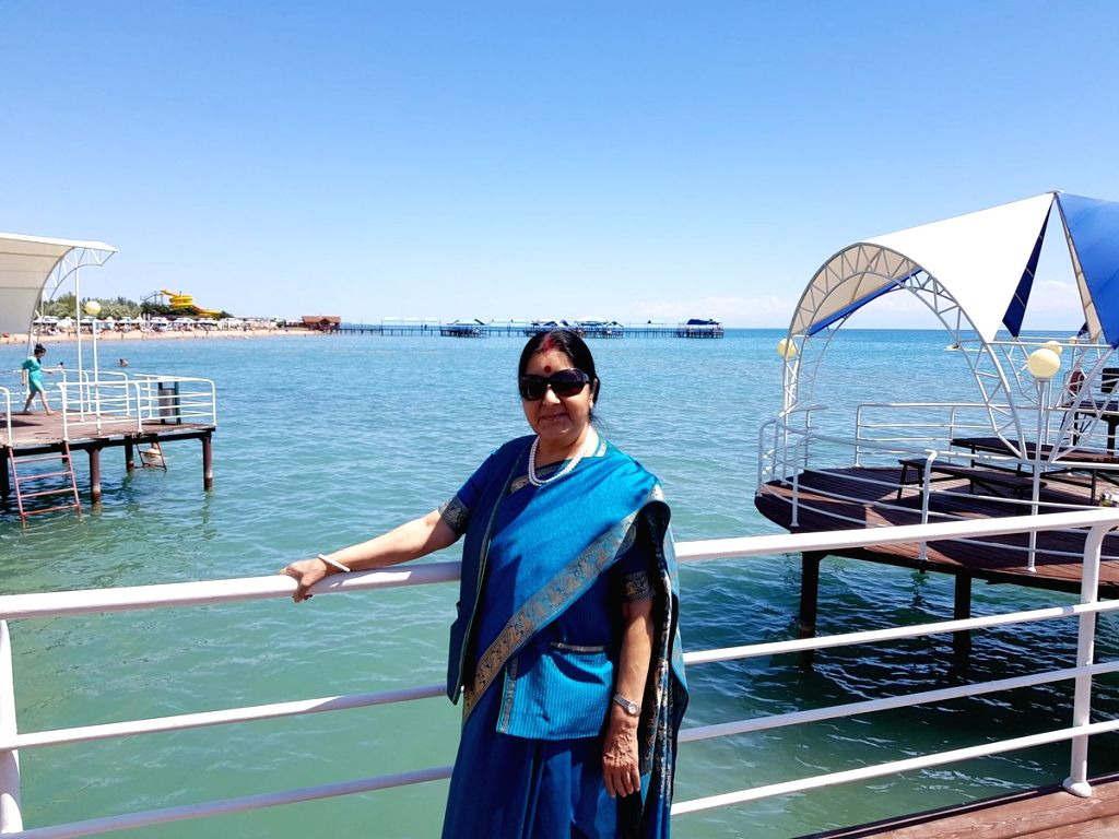 External Affairs Minister Sushma Swaraj visits Lake Issyk Kul - the 2nd largest mountain lake in the world surrounded by snow-capped peaks of Tian Shan mountain, Kyrgyzstan on Aug 4, 2018. - Sushma Swaraj