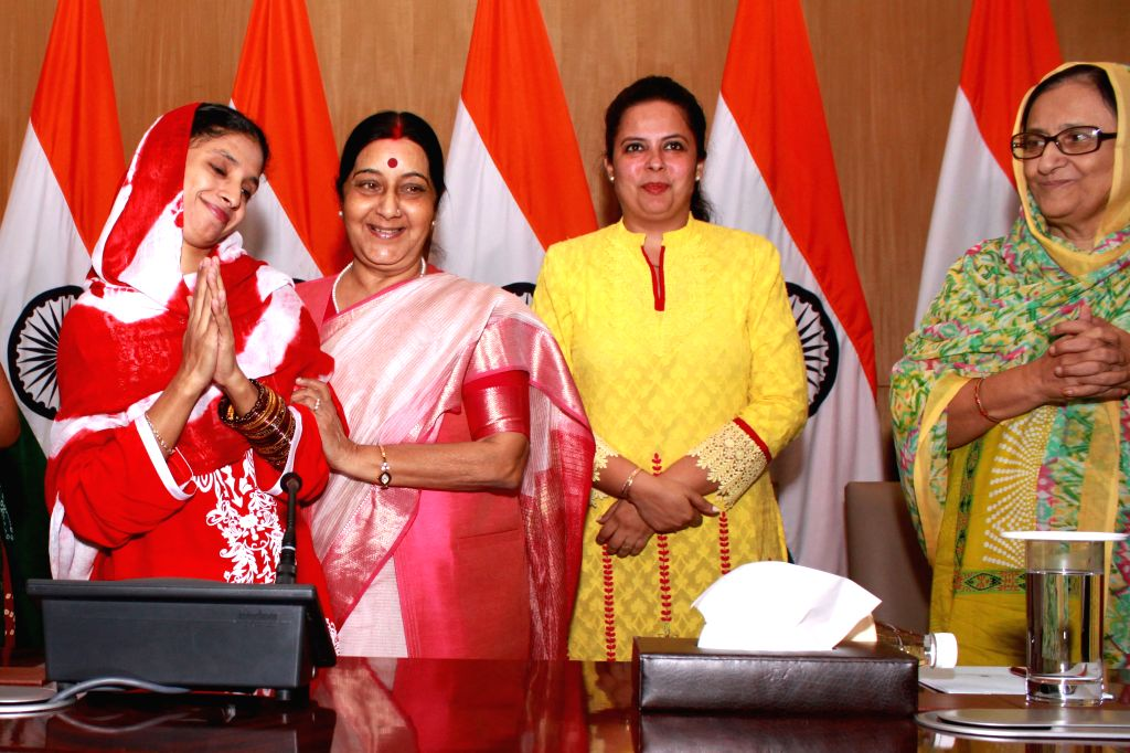 External Affairs Minister Sushma Swaraj with Geeta, a deaf-mute Indian woman who has been stranded in Pakistan for over a decade during a press conference in New Delhi on Oct 26, 2015. - Sushma Swaraj