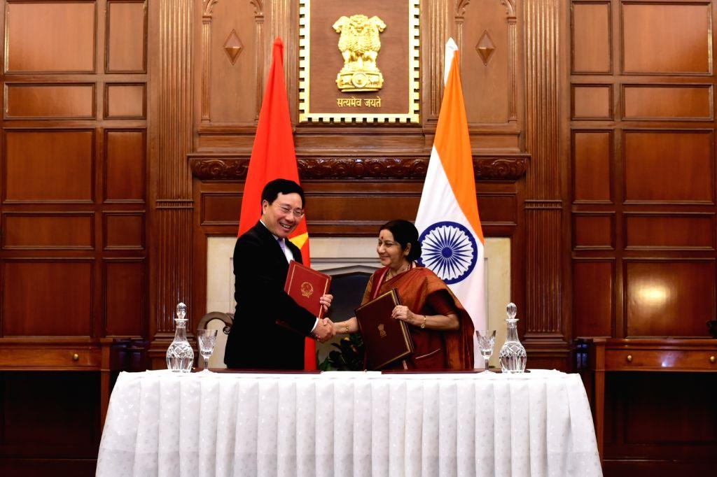 External Affairs Minister Sushma Swaraj with Vietnam Deputy Prime Minister Pham Binh Minh during a programme in New Delhi, on July 4, 2017. - Sushma Swaraj