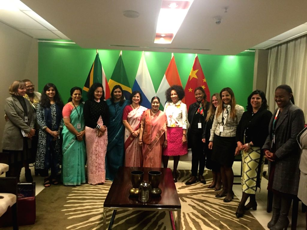 External Affairs Minister Sushma Swaraj with South Africa's Minister of International Relations and Co-operation Lindiwe Sisulu and representatives from foreign ministries of the two ... - Sushma Swaraj