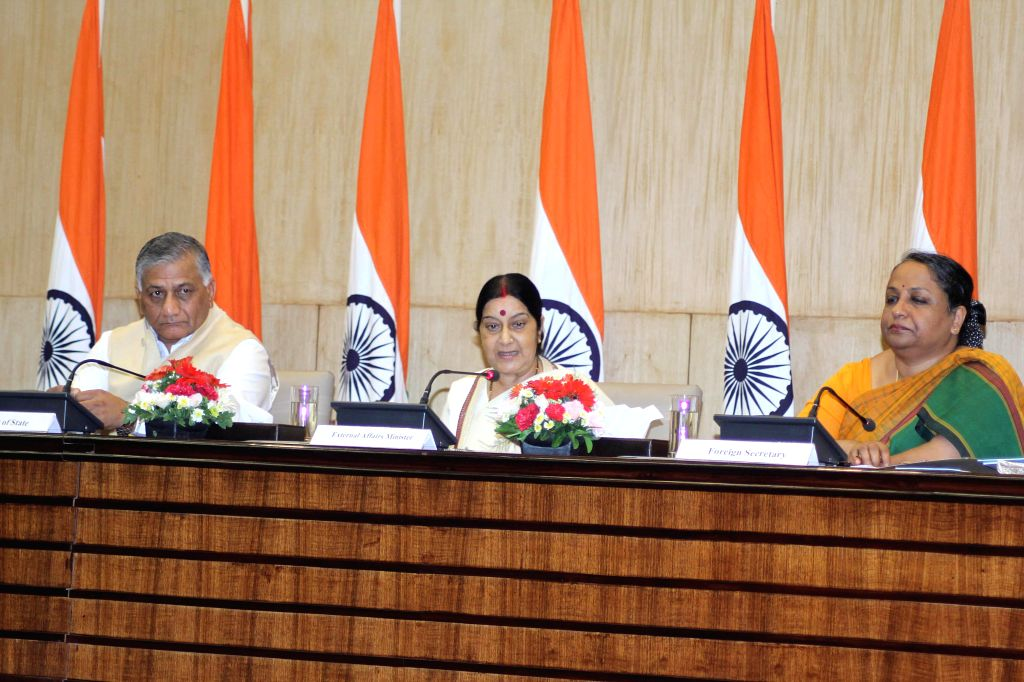 External Affairs Minister Sushma Swaraj with MoS External Affairs General (Retd.) V K Singh and Foreign secretary Sujatha Singh during release of `Fast Track Diplomacy` - a book in New Delhi on Sept . - Sushma Swaraj, V K Singh and Sujatha Singh
