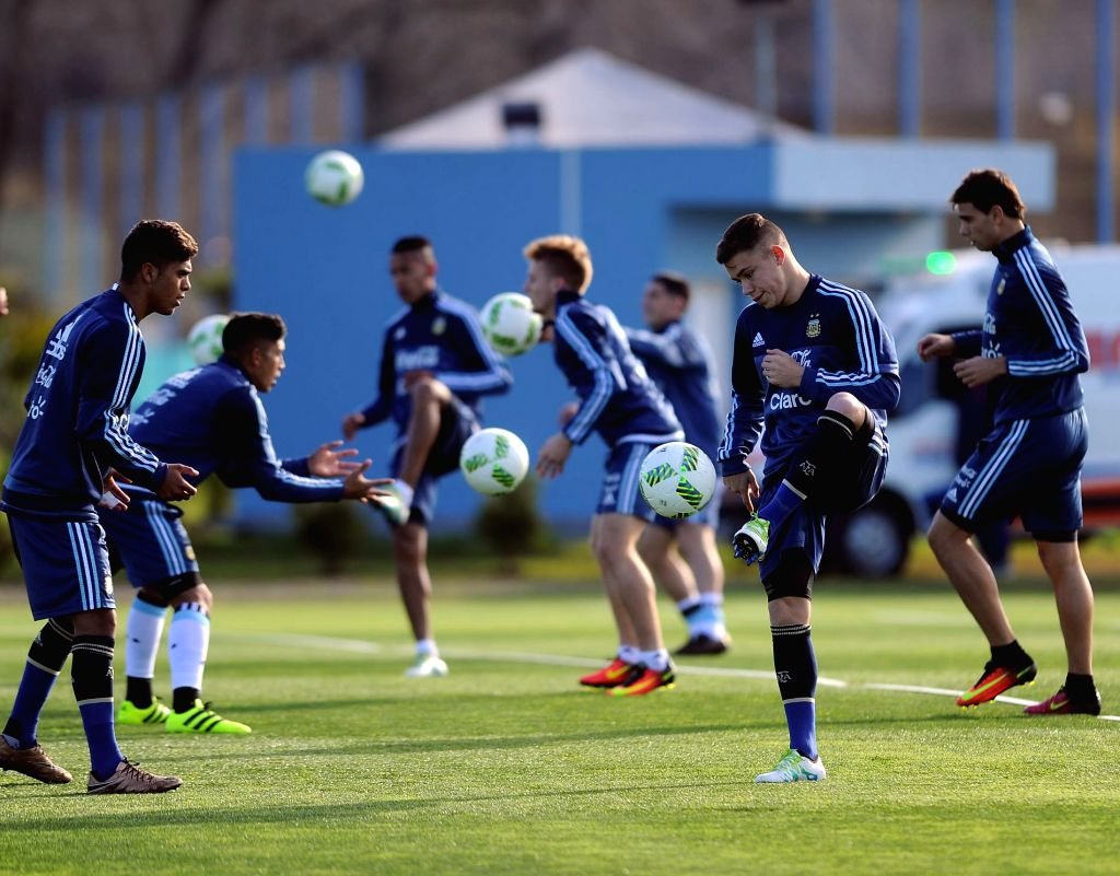 EZEIZA, July 13, 2016 - Argentina's national under-23 soccer team players take part in a training session for the upcoming 2016 Rio Olympic Games, in Ezeiza, Argentina, on July 12, 2016.