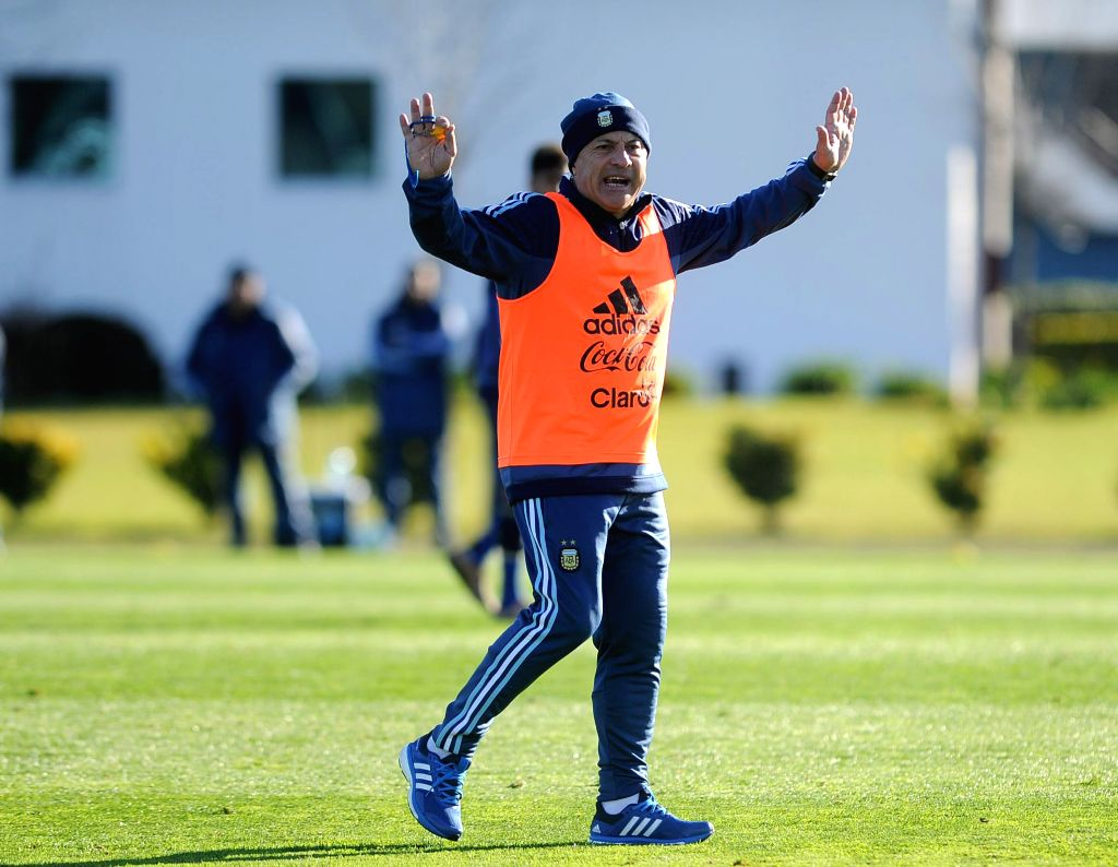 EZEIZA, July 13, 2016 - Julio Olarticoechea, head coach of Argentina's national under-23 soccer team, gestures during a training session for the upcoming 2016 Rio Olympic Games, in Ezeiza, Argentina, ...