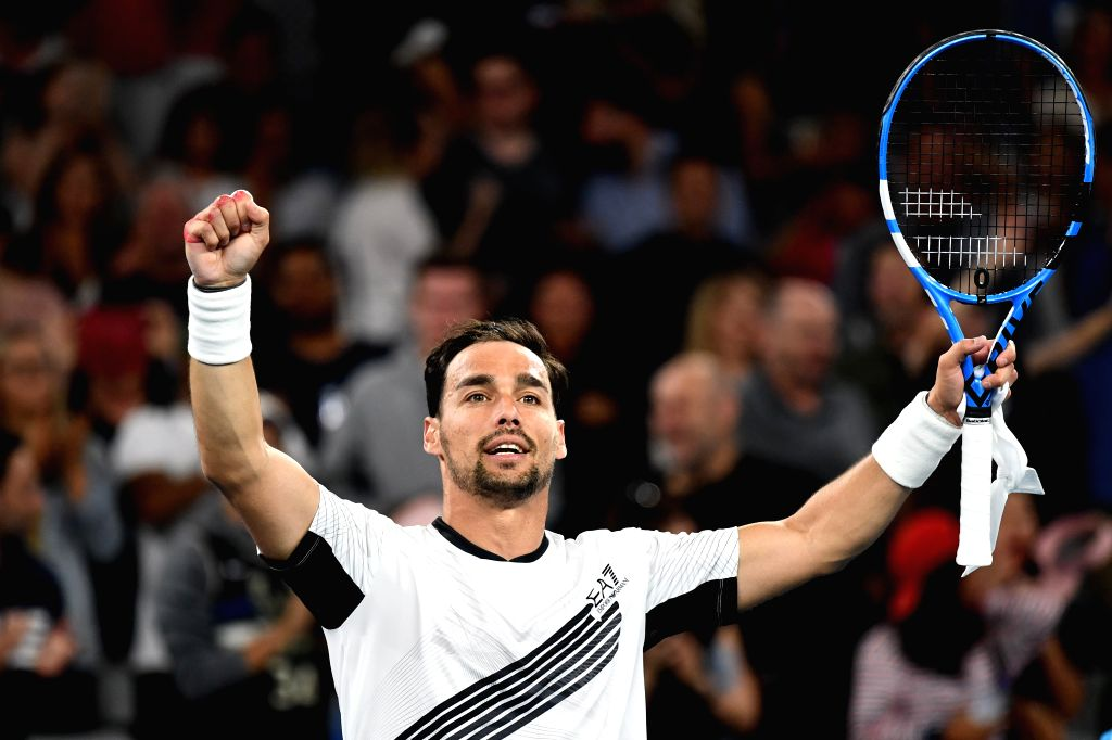 Fabio Fognini of Italy celebrates after the men's singles third round match against Guido Pella of Argentina at the 2020 Australian Open tennis tournament in ...