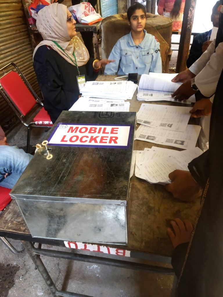 Facility of a mobile locker for voters to keep their mobiles safe, available at a polling station during Delhi Assembly elections 2020, in New Delhi on Feb 8, 2020.