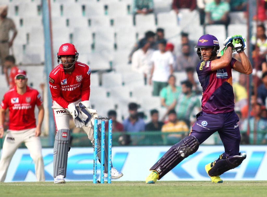 Faf du Plessis of Rising Pune Supergiants in action during an IPL match between Kings XI Punjab and Rising Pune Supergiants at Punjab Cricket Association IS Bindra Stadium in Mohali on ...