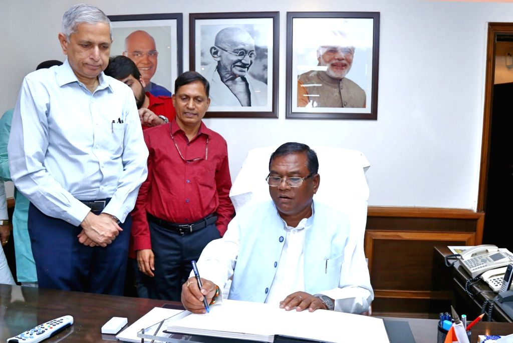 Faggan Singh Kulaste takes charge as the Minister of State for Steel, in New Delhi on May 31, 2019. - Faggan Singh Kulaste