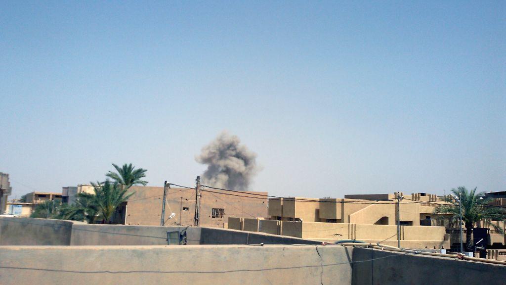 FALLUJAH, June 4, 2016 - Smoke rises after the U.S.-led coalition warplanes struck Islamic State (IS) militants in Fallujah city, some 50 kilometers west of Baghdad, Iraq, on June 4, 2016. At least ...