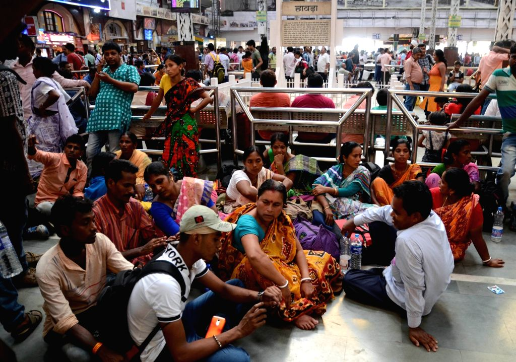 Family members of BJP workers who were killed in incidents of political violence in West Bengal over the past few years at Howrah station on May 29, 2019. The Prime Minister has specially ...