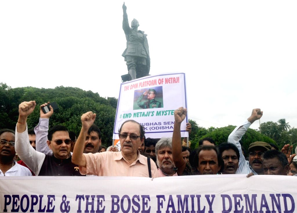 Family members of Subhas Chandra Bose participate in a rally to demand for unravelling the mystery surrounding Netaji's disappearance in Kolkata on Aug 18, 2017. - Subhas Chandra Bose
