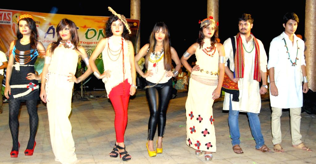 Famous North-Eastern designer Yana Ngoba designed special clothes for the promotion of Khadi during a show being staged during the 67th Independence Day celebrations in Guwahati on August 15, 2013. ..