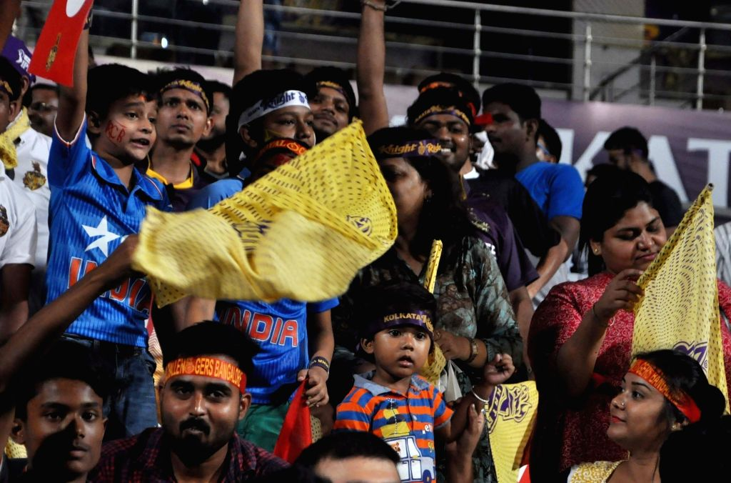 Fans ahead of an IPL 2018 match between Kolkata Knight Riders and Royal Challengers Bangalore at the Eden Gardens in Kolkata on April 8, 2018.