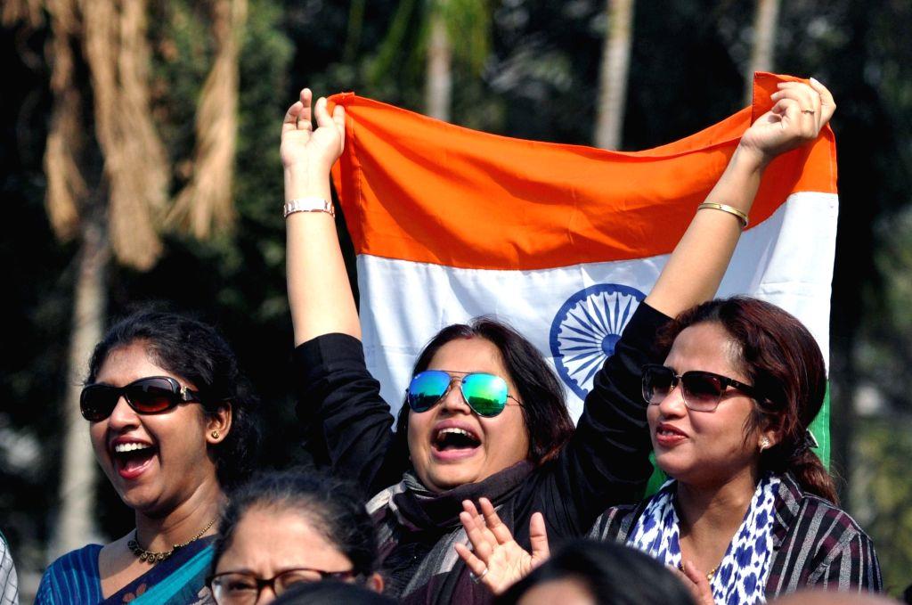 Fans at the Davis Cup World in Kolkata on Feb. 2, 2019.