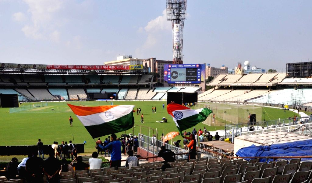 Fans cheer during a practice session ahead of the first T20 match against West Indies at the Eden Gardens in Kolkata, on Nov 3, 2018.
