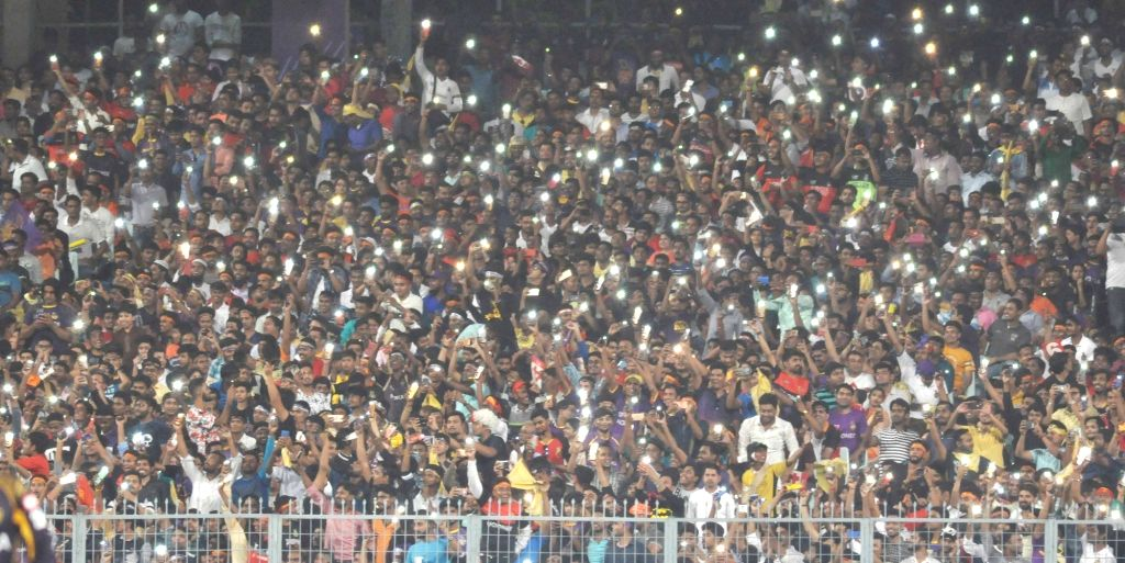 Fans during an IPL 2018 match between Kolkata Knight Riders and Royal Challengers Bangalore at the Eden Gardens in Kolkata on April 8, 2018.