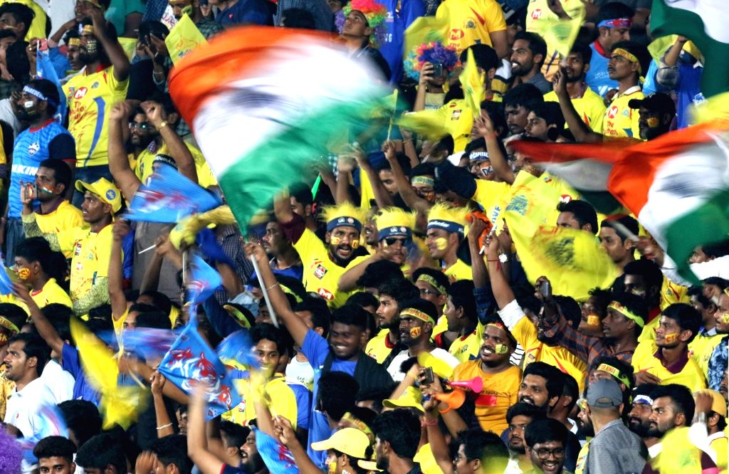 Fans during the 2nd Qualifier match of IPL 2019 between Chennai Super Kings and Delhi Capitals at Dr. Y.S. Rajasekhara Reddy Cricket Stadium in Visakhapatnam, on May 10, 2019.