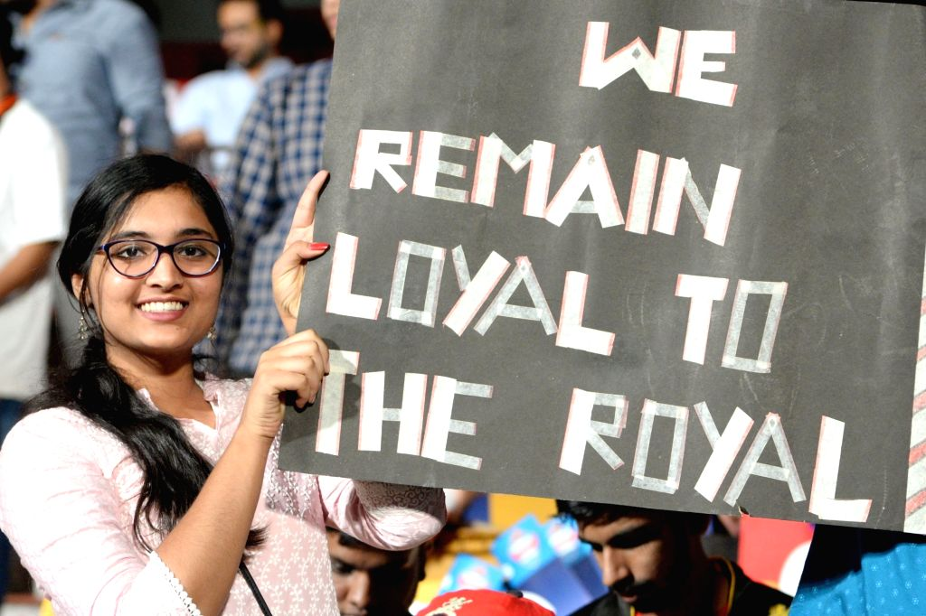 Fans during the 42nd match of IPL 2019 between Royal Challengers Bangalore and Kings XI Punjab at M.Chinnaswamy Stadium in Bengaluru, on April 24, 2019.