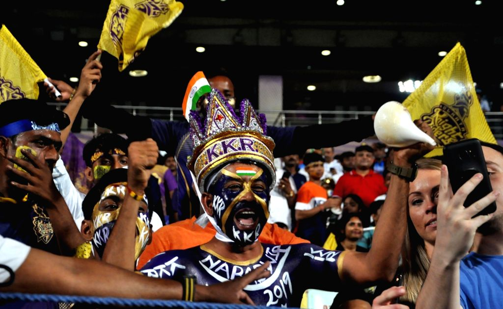 Fans during the 43rd match of IPL 2019 between Kolkata Knight Riders and Rajasthan Royals at Eden Gardens in Kolkata, on April 25, 2019.