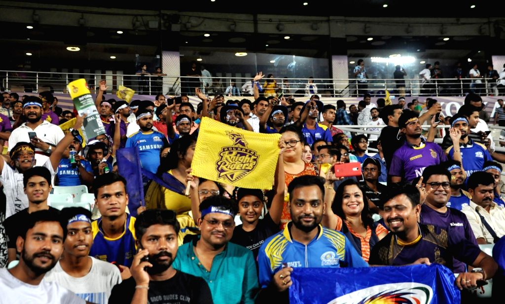 Fans during the 47th match of IPL 2019 between Kolkata Knight Riders and Mumbai Indians at Eden Gardens in Kolkata, on April 28, 2019.