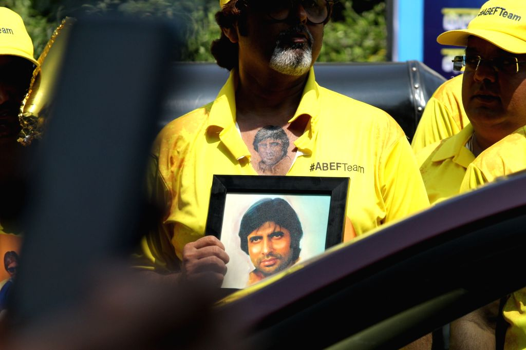 "Fans gather outside actor Amitabh Bachchan's residence ""Prateeksha"" to wish him on his 77th birthday, in Mumbai on Oct 11, 2019. - Amitabh Bachchan"