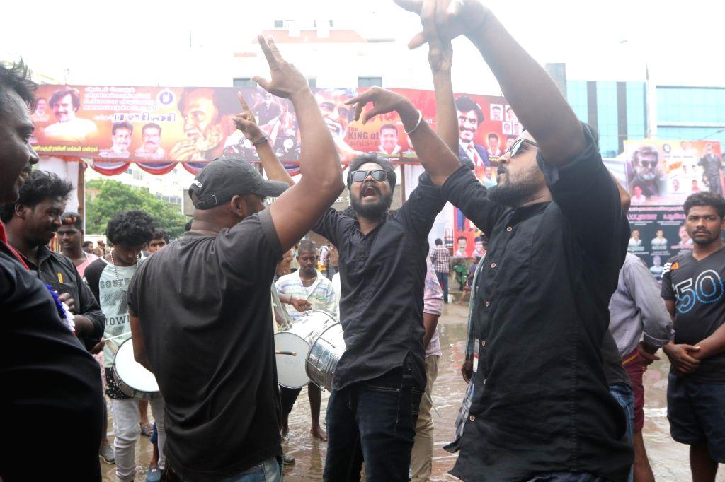 "Fans of actor Rajinikanth celebrate release of his film ""Kaala"" in Chennai on June 7, 2018. - Rajinikanth"
