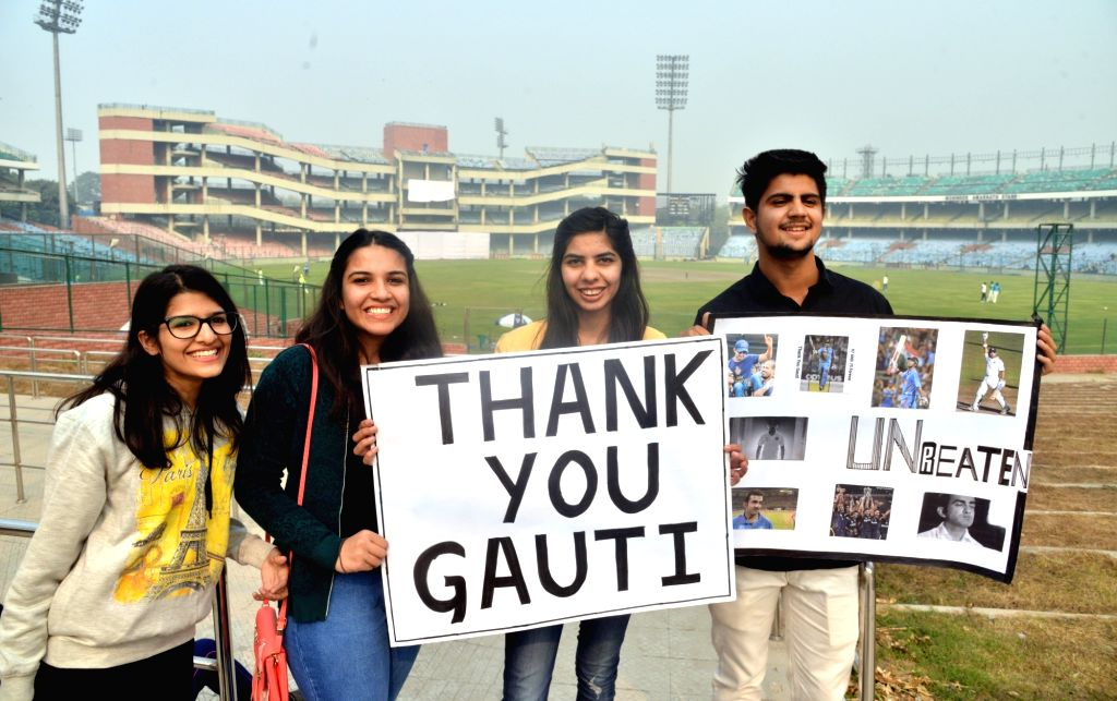 Fans of Indian cricketer Gautam Gambhir cheer for him at a Ranji Trophy match between Delhi and Andhra, which is his last match after he announced his retirement from all forms of cricket ... - Feroz Shah Kotla