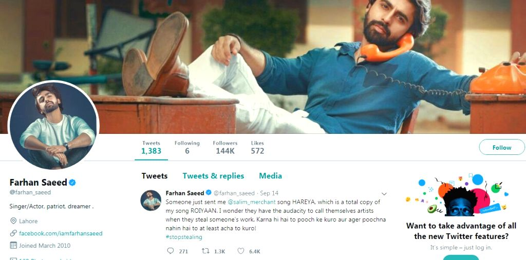 """Farhan Saeed, a former member of Pakistan's popular band Jal, has slammed Salim Merchant for copying his song """"Roiyaan"""". However, the Indian singer-composer called it a """"mere ..."""