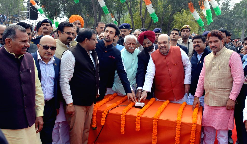 Haryana Chief Minister Manohar Lal Khattar, BJP chief Amit Shah, actor Ranbir Kapoor and others during a programme organised to unfurl world's largest and tallest Indian tricolour at Town ... - Manohar Lal Khattar, Amit Shah and Ranbir Kapoor
