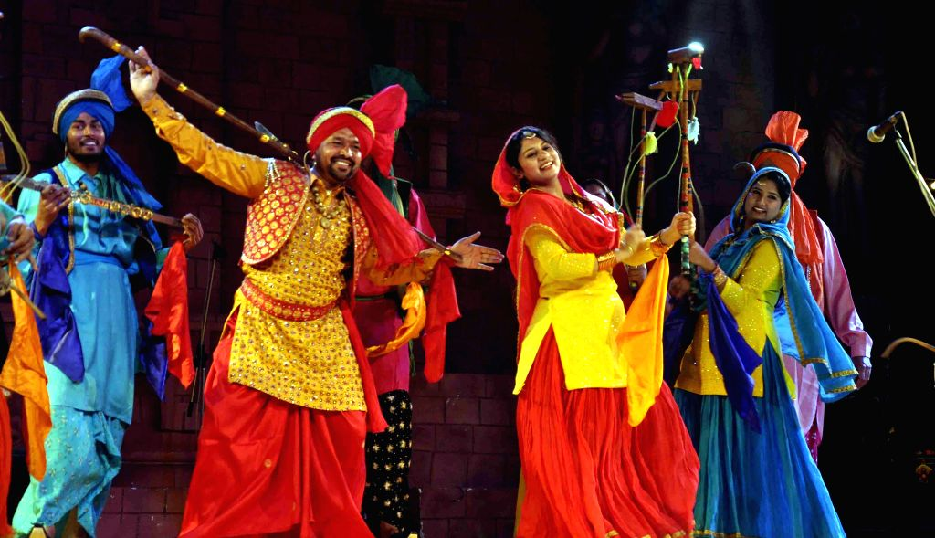 Punjabi Folk artists perform during the 29th Surajkund International Crafts Mela in Faridabad on Feb 10, 2015.