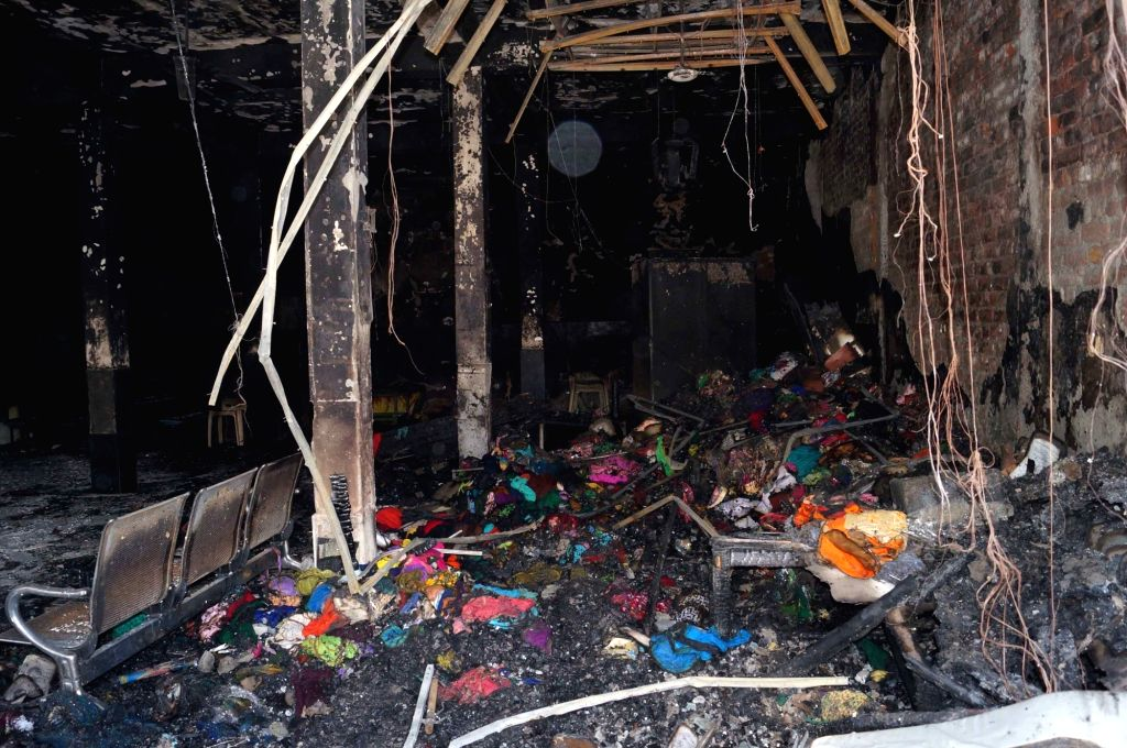 Faridabad: The private school where a major fire broke out killing three persons, including two children in Haryana's Faridabad on June 8, 2019. According to Fire Department officials, the fire started from a cloth godown inside the school located in