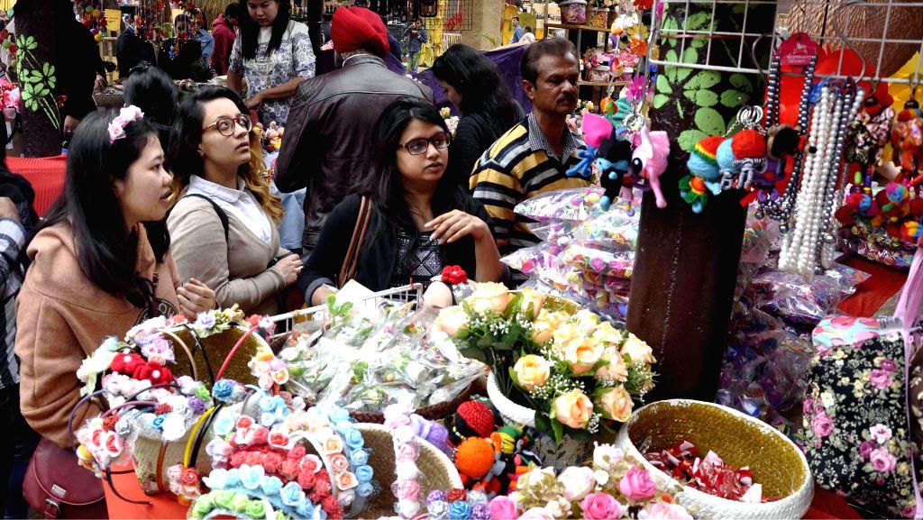 Visitors at the 29th Surajkund International Crafts Mela in Faridabad on Feb. 2, 2015.
