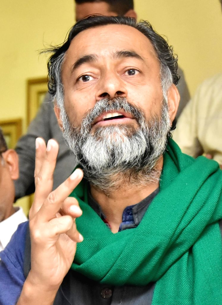 Farmer er and Activist Yogendra Yadav addressing a press conference with Farmer ers, in Bengaluru, on Sunday, 7th March 2021. - Yogendra Yadav