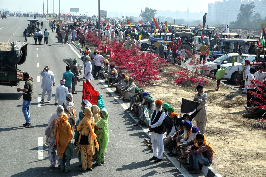 Farmers blocked KMP Expressway, Kundli border against new agricultural laws during the 100 days completion on Saturday in New Delhi on Saturday 06th March, 2021.