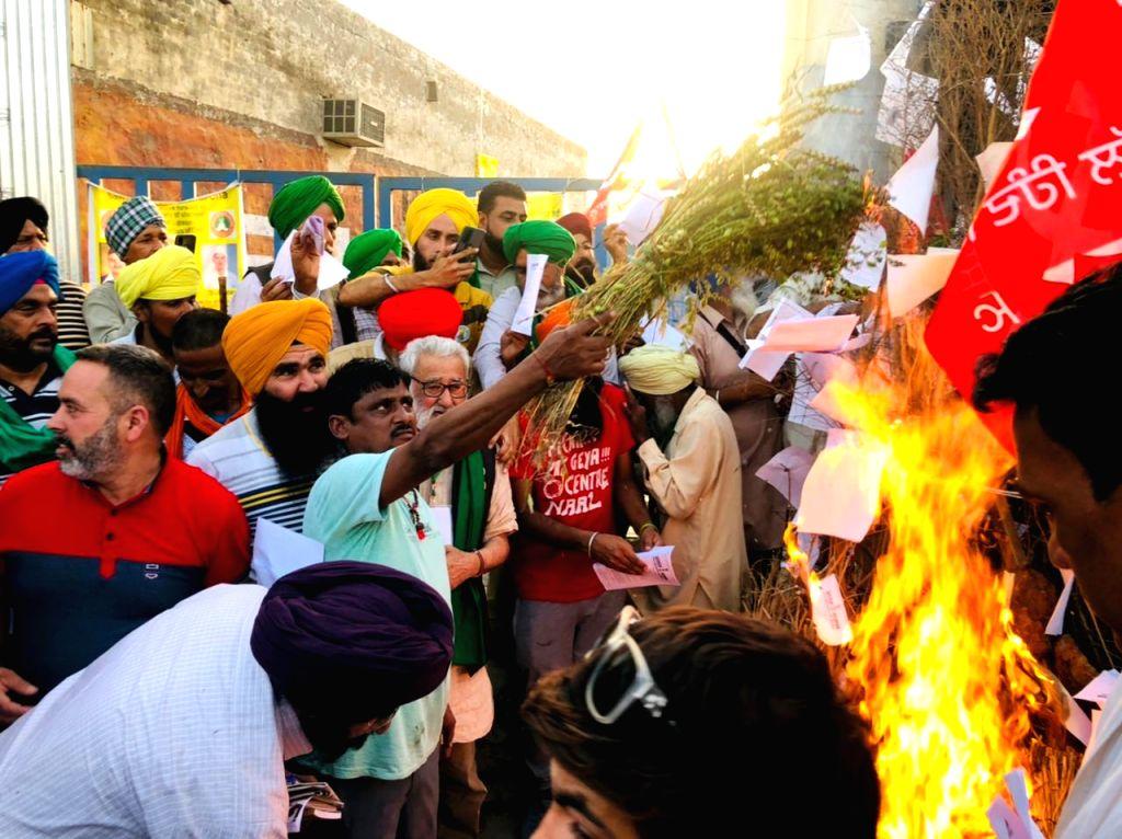 Farmers burned copies of laws in Holika Dahan