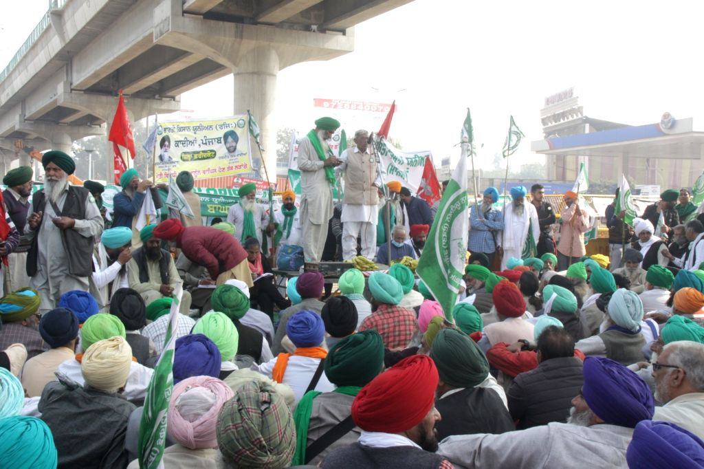 Farmers from Punjab and Haryana continue to protest for the seventh consecutive day, against the Central Government's new Farm Laws, at Delhi-Haryana's Tikri Border on Dec 2, 2020.