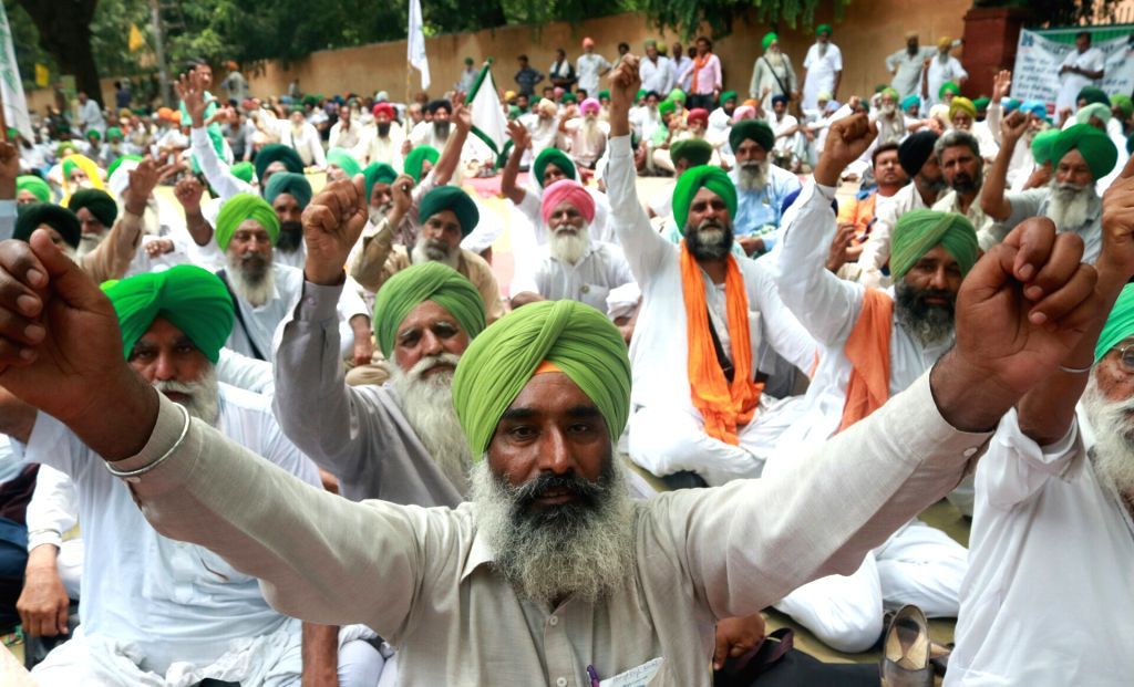 Farmers from Punjab and Haryana stage a demonstration to press for their demands near NITI Ayog, in New Delhi on July 3, 2017.