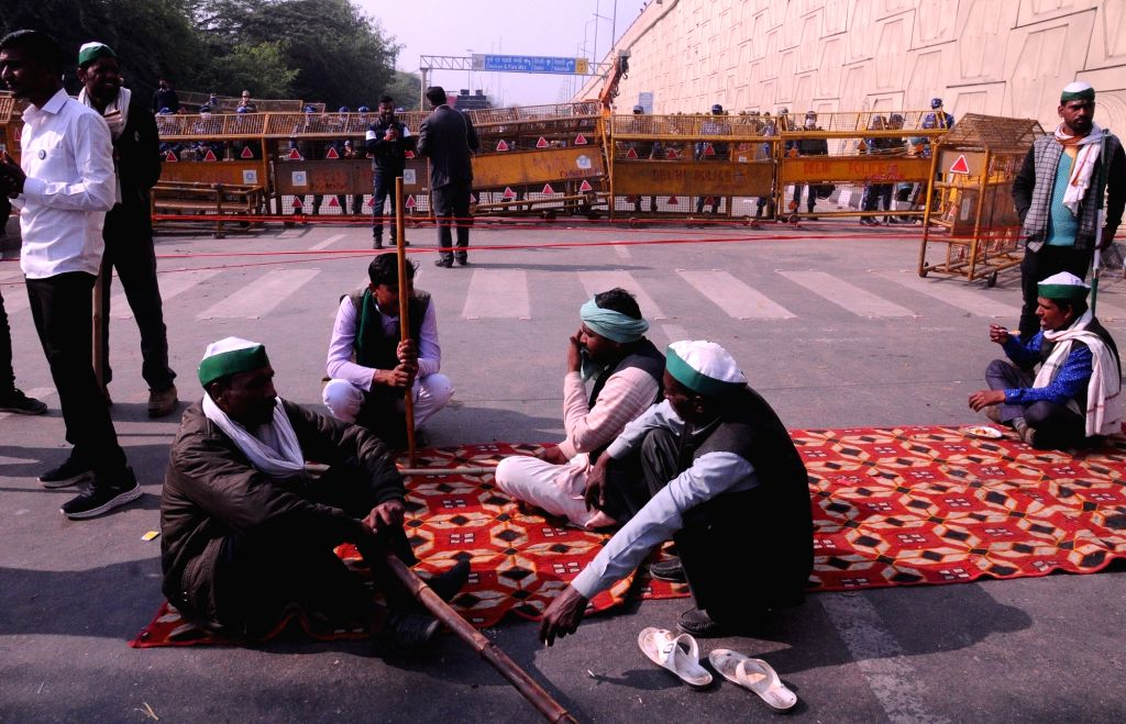 Farmers from western Uttar Pradesh continue to protest against the Central Government's Farm Laws at the Ghazipur entry point on the Delhi-Uttar Pradesh border on Nov 30, 2020.
